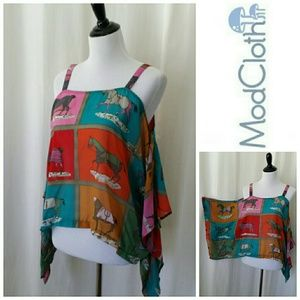 ModCloth Multicolored Hourse Cold Shoulder Tunic